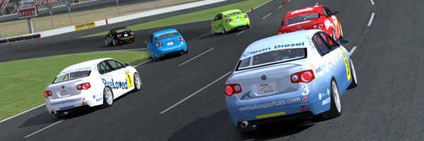 Racing into the first corner at Charlotte